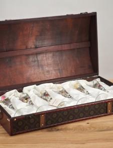Wooden Box 6 champagne flutes La Fleur