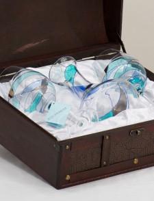 Wooden Box 2 wine glasses No. 2 and associated decanter AcquaMarina